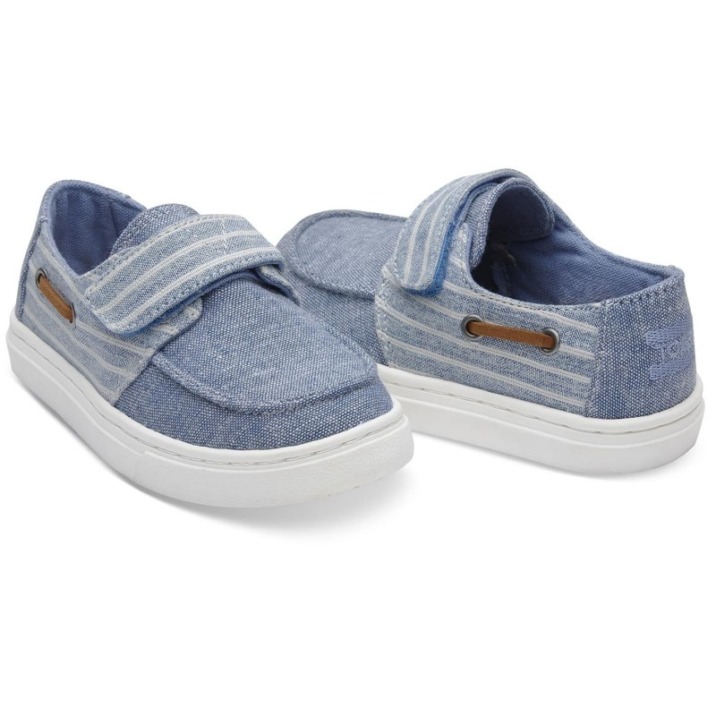 Toms Culver Slip Blue Chambray Stripe 10011529