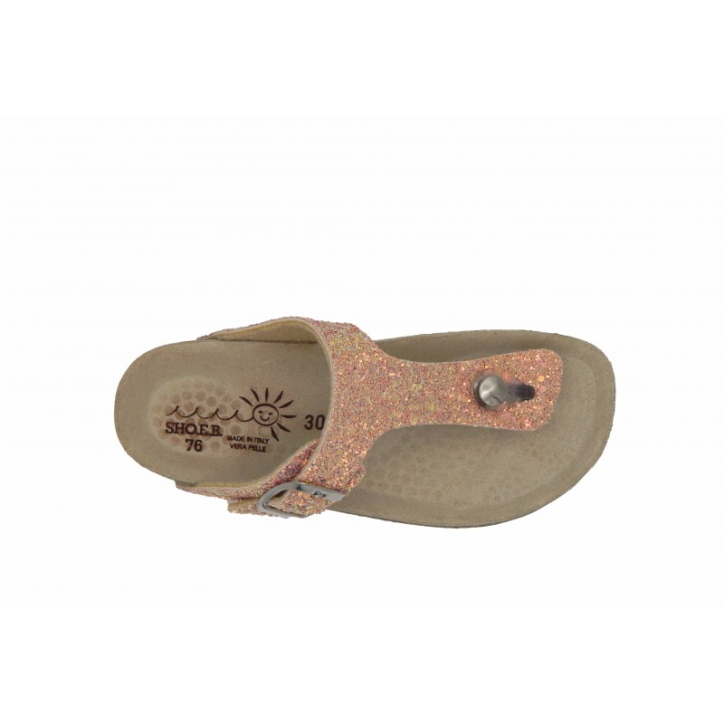 Eb Shoes Πέδιλα Glitter Ροζ